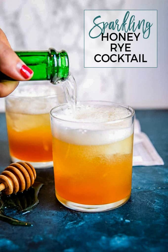 sparkling honey rye whiskey cocktail Pinterest pin