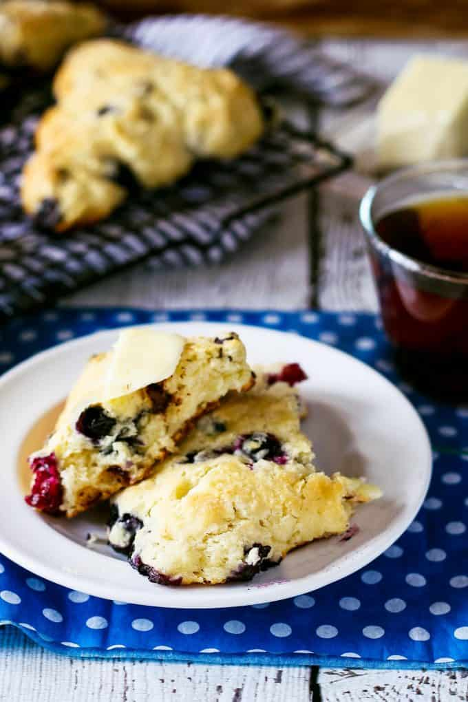 blueberry chocolate chip scone cracked in half