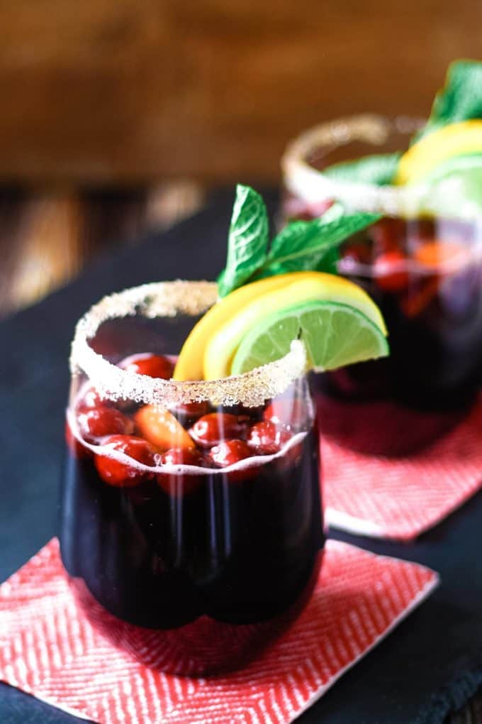 two glasses of winter sangria