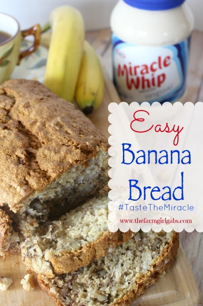 This Easy Banana Bread uses the Original KRAFT MIRACLE WHIP as the secret ingredient. This easy bread recipe is perfect for breakfast, snacks or holidays and special occasions. #AD #TasteTheMiracle
