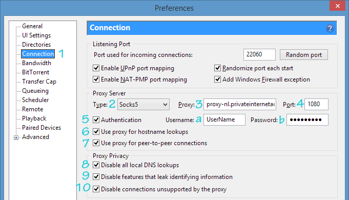 uTorrent proxy settings with Private Internet Access Socks5