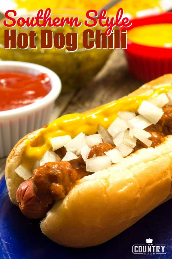 Homemade Southern Style Hot Dog Chili with Ground Beef recipe from The Country Cook #groundbeef #chili #hotdog #dinner #4thofJuly #easy #recipe
