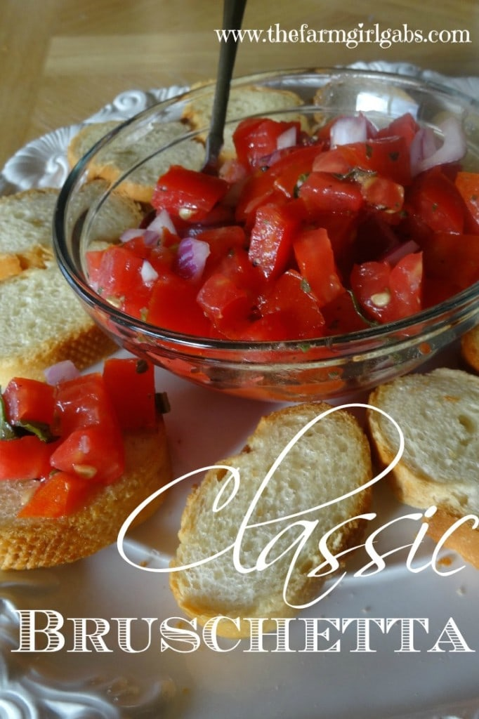 Classic bruschetta is the perfect snack or appetizer recipe for all those farm fresh tomatoes.
