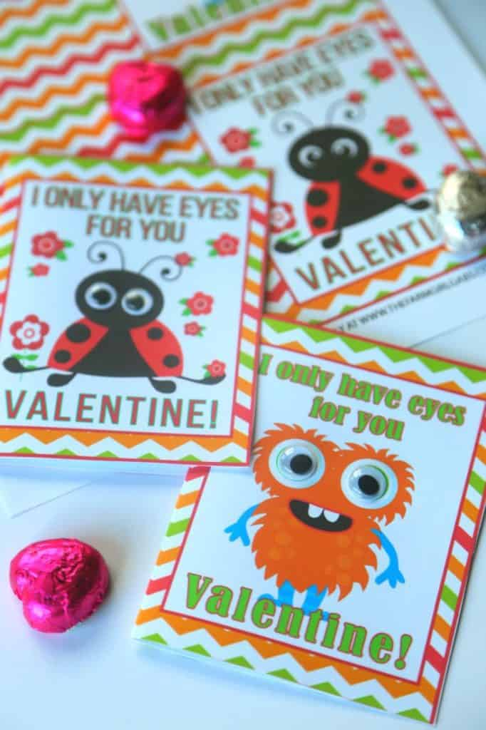Free printable I Only Have Eyes For You Valentine Cards.