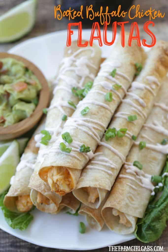 Feed a crowd this Cinco de Mayo with these delicious Baked Buffalo Chicken Flautas. This easy recipe is the perfect Mexcian night meal. #mexicanrecipe #tacos #cincodemayo #partyfood #mexicanfood #salsa