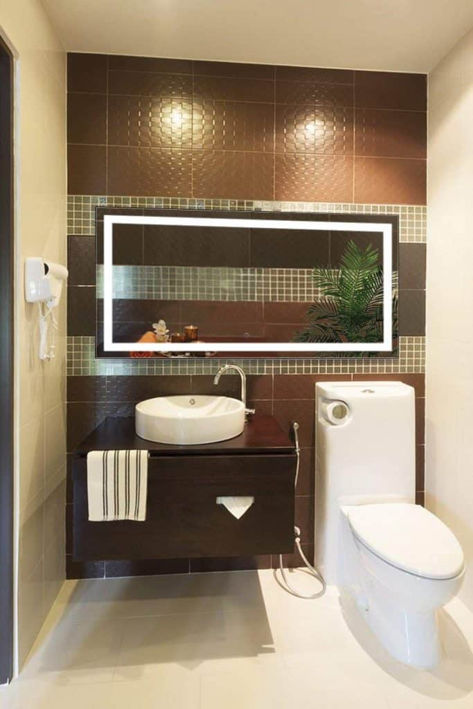 Krugg Large 60 Inch X 30 Inch LED Bathroom Mirror Lighted Vanity Mirror Includes Dimmer & Defogger Wall Mount Vertical or Horizontal Installation