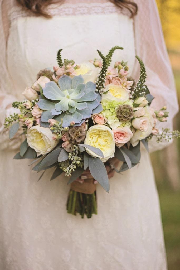 succulent and garden rose bridal bouquet