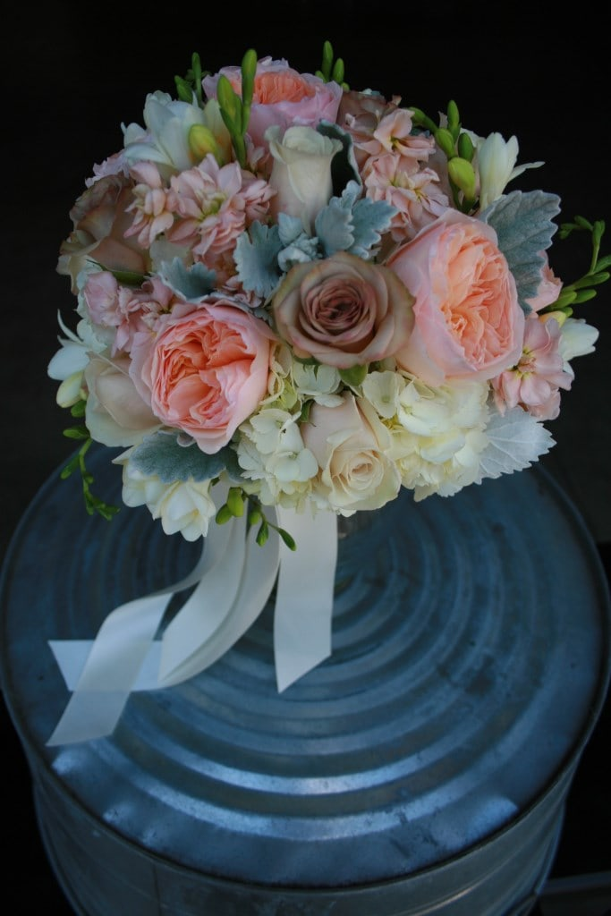 Peach, ivory, champagne, gray, and brown Bridal Bouquet