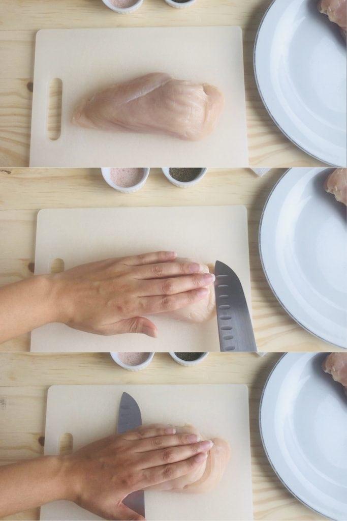slicing chicken breast