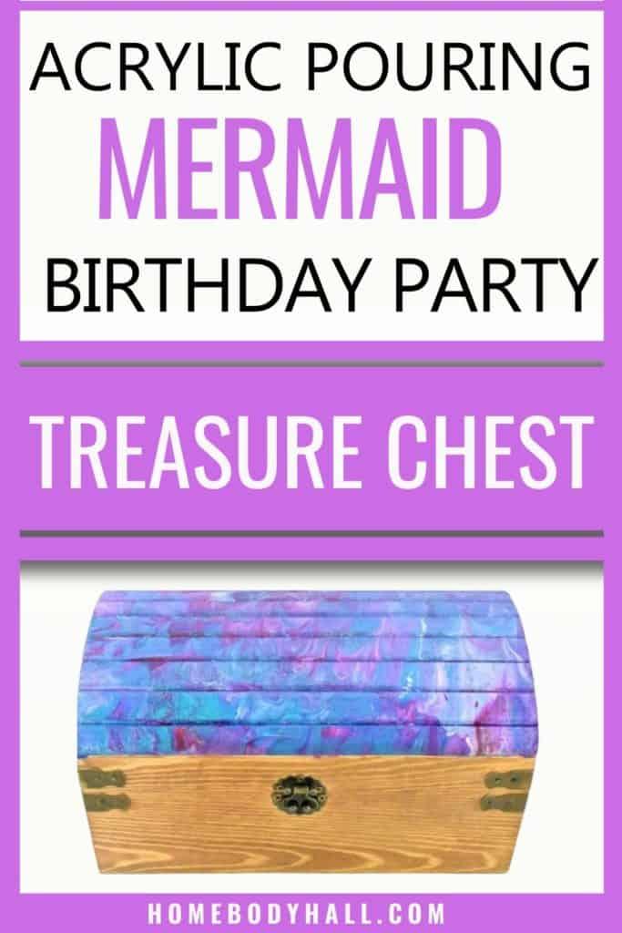 Acrylic Pouring Mermaid Birthday Party Treasure Chest