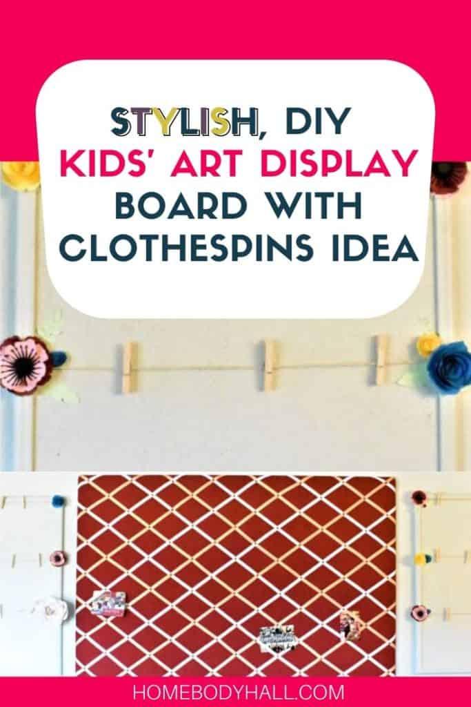 Stylish DIY Kids' Art Display Board with Clothespins Idea