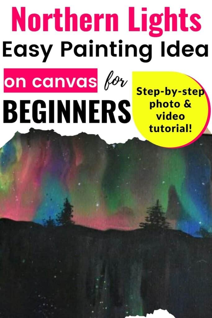 Acrylic Pouring Northern Lights: Easy Painting Idea on Canvas for Beginners