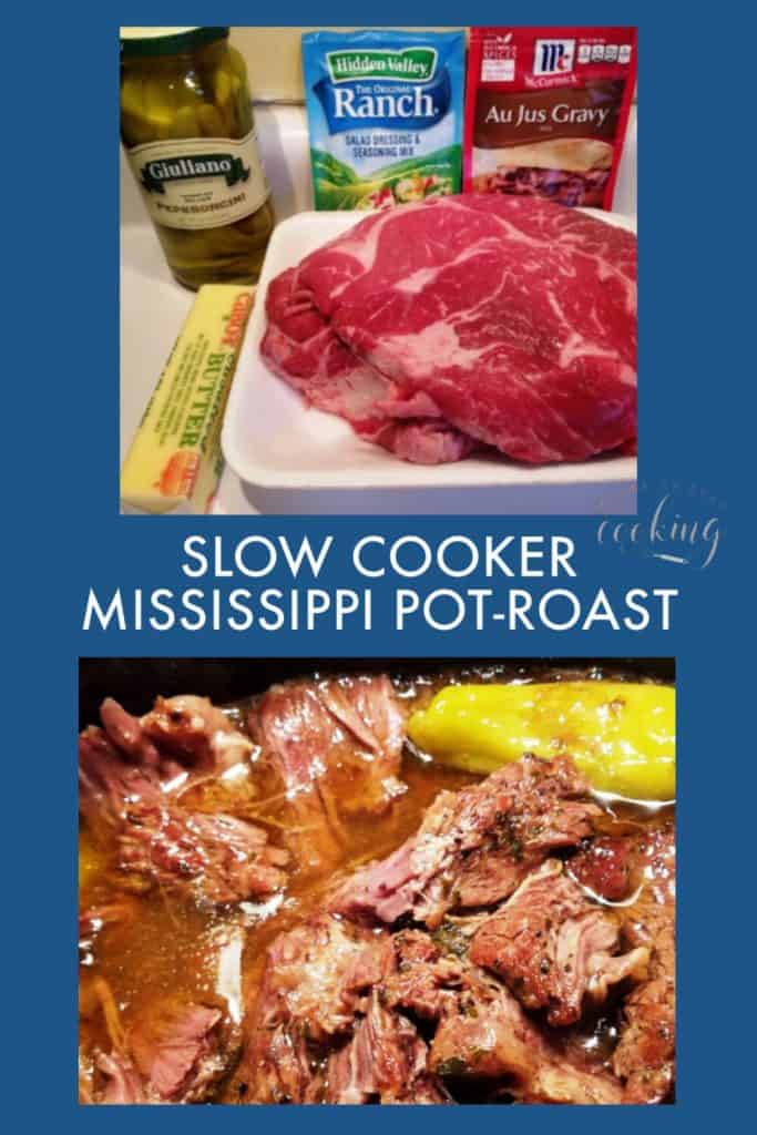pin of ingredients and roast Slow Cooker Mississippi Pot Roast