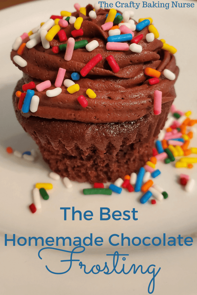 Chocolate cupcake with chocolate icing and multicolored sprinkles