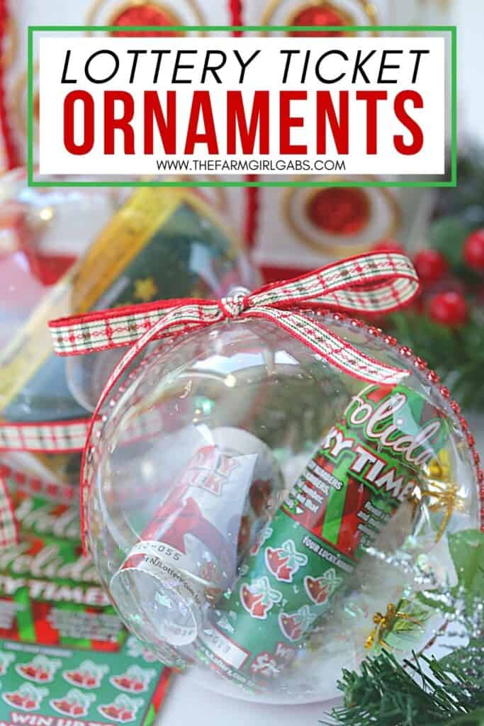 Gift the gift of lottery luck this holiday season with these fun New Jersey Lottery Ticket Christmas Ornaments. These DIY Christmas ornaments are easy to make. Grab some lottery ytickets and fill a plastic ornament. This easy Christmas craft takes only a few minutes to make. These ornaments are fun to hang on the Christmas Tree. Lottery Ticket ornaments make a great Christmas gift idea too.