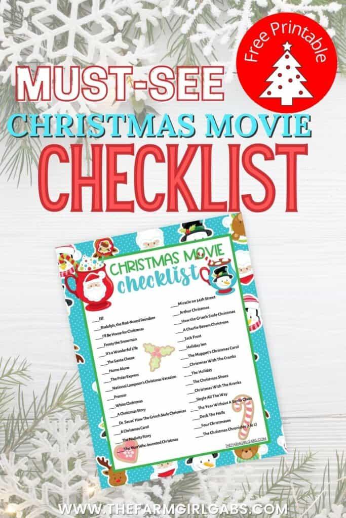 Free Christmas Movie Checklist