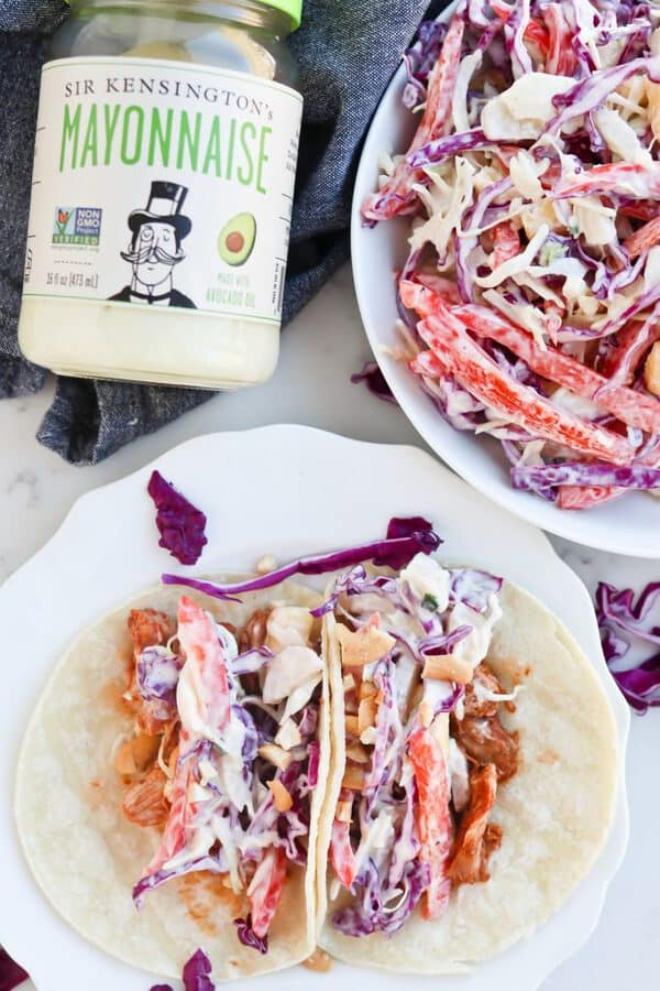 Pressure Cooker Hawaiian Barbecue Pork Tacos with coleslaw on top