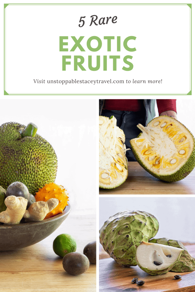 Pinterest image with three images of rare exotic fruits and the words: 5 Rare Exotic fruits