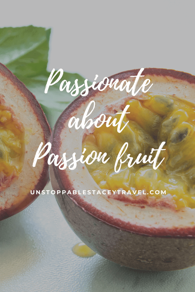 "close up of halved passion fruit with words over image that read: Passionate about Passion fruit"" please pin on pinterest"