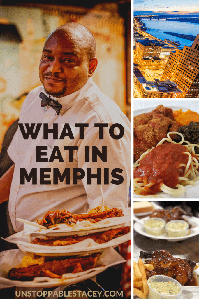 """PIN THIS - image with words """"What to eat in Memphis"""" collage of waiter holding food , image of skyline, spaghetti and fried catfish and BBQ quail"""