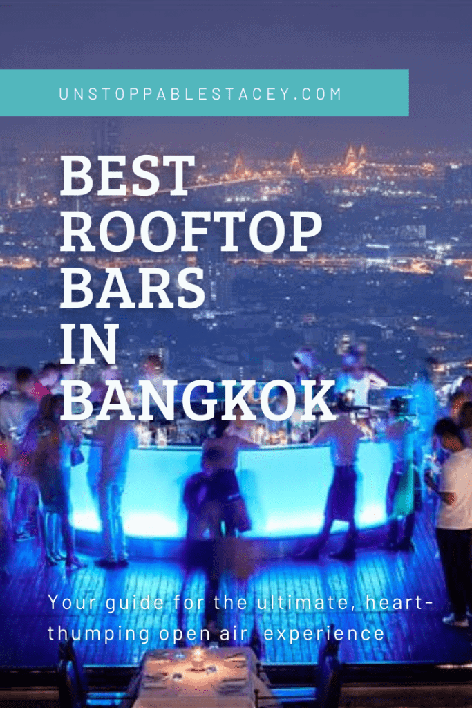 """Pin this: Pinterest image with roof top bar in Bangkok with blue backlit bar and people silhouetted around it - text reads: """"Best rooftop Bars in Bangkok"""""""