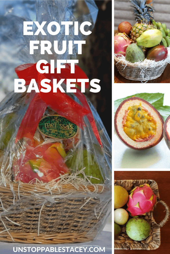 """pinterest graphic that says: Exotic Fruit Baskets"""" and has pictures of 3 tropical fruit baskets and one photo of passion fruit"""