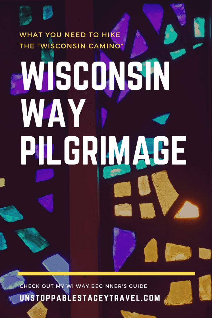 stained glass window with text: Wisconsin Way Pilgrimage""