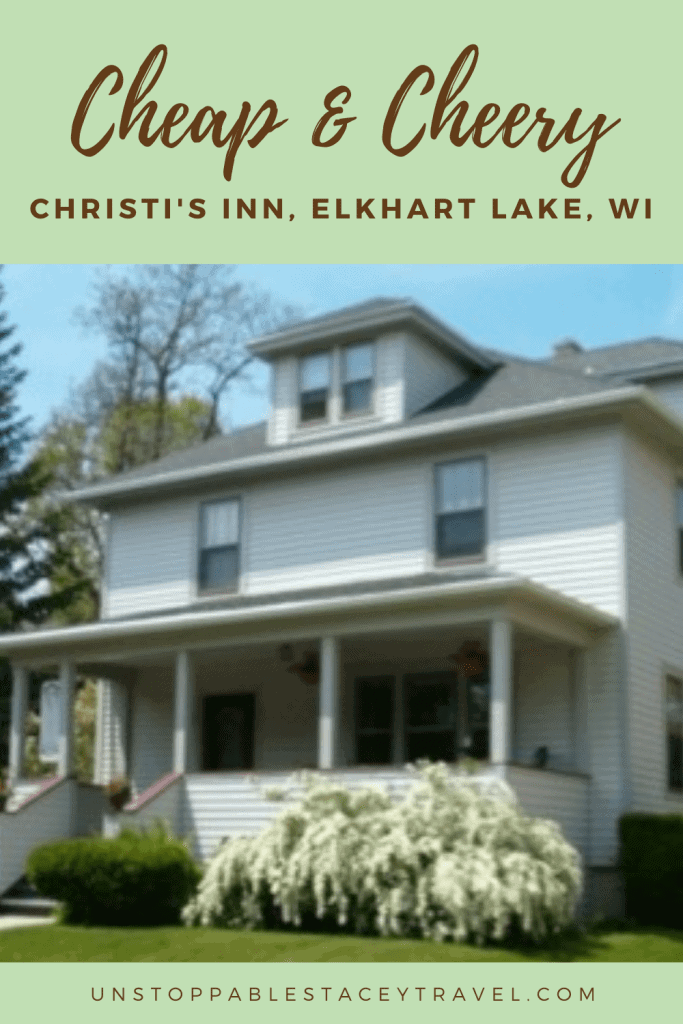 """Pinterest graphic with image of Victorian home and the words: Cheap and Cheery: Christi's Inn"""" Elkhart Lakes Lodging,"""