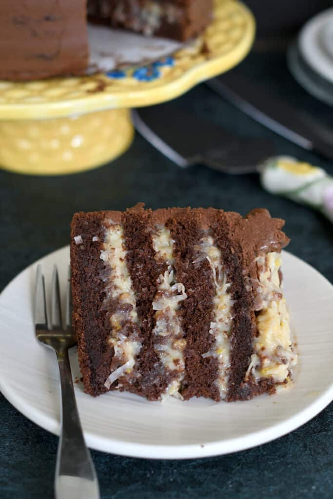 a slice of german chocolate cake on a white plate