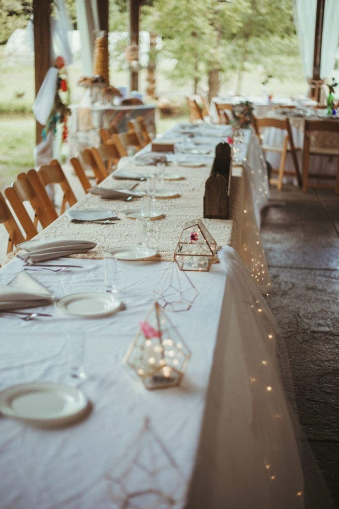 wedding table decorations at terrapin hill farm