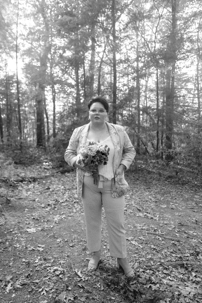 black and white looks like film queer wedding portrait