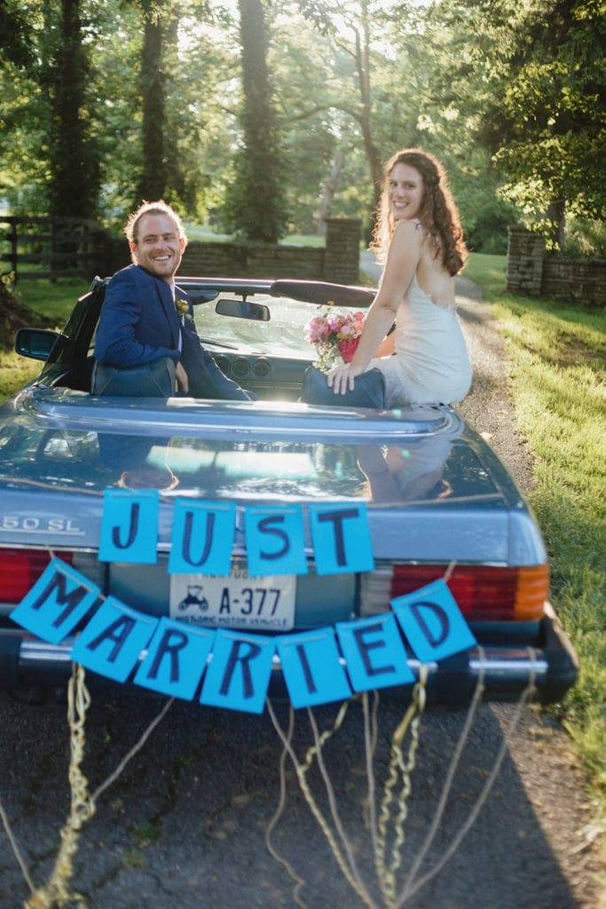 just married classic car