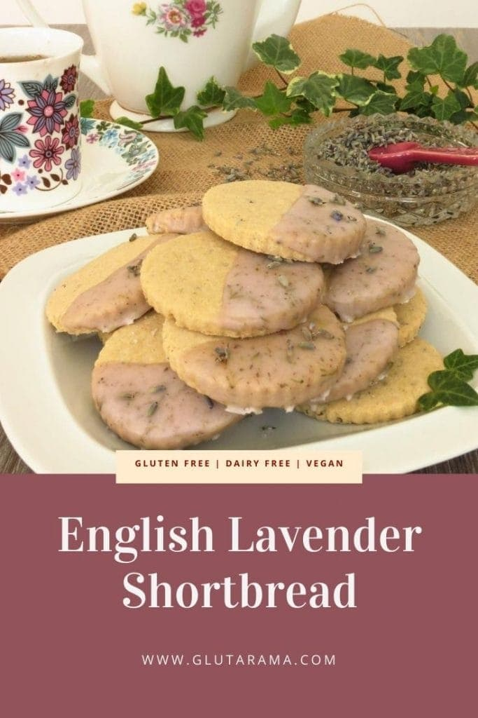 plate of gluten free English Lavender Shortbread biscuits