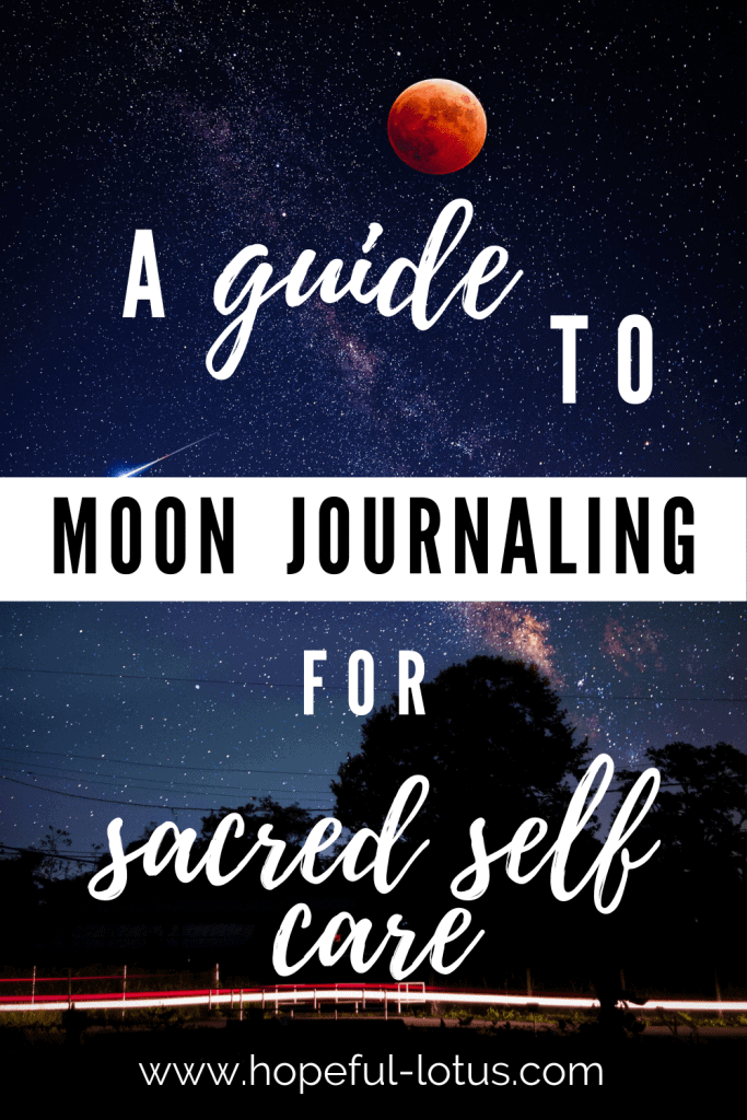 Are you looking to get more connected to the power of the moon? This guide to moon journaling will give you all the moon journaling prompts and ideas you need to know to get started with this form of sacred self care. Complete with the best moon journals, lunar calendars and other moon journaling accessories! #moonology