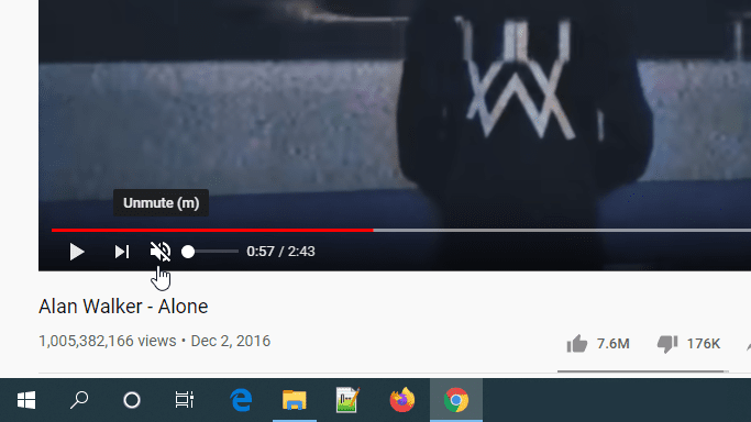 YouTube Player Mute Control