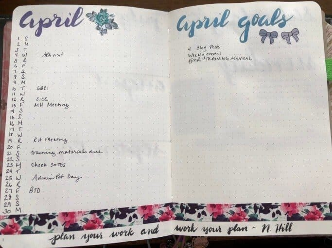 An example of a monthly spread in a bullet journal.