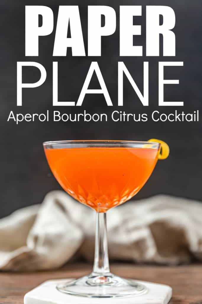 Paper Plane, Aperol Bourbon Cocktail recipe with Citrus and Amaro