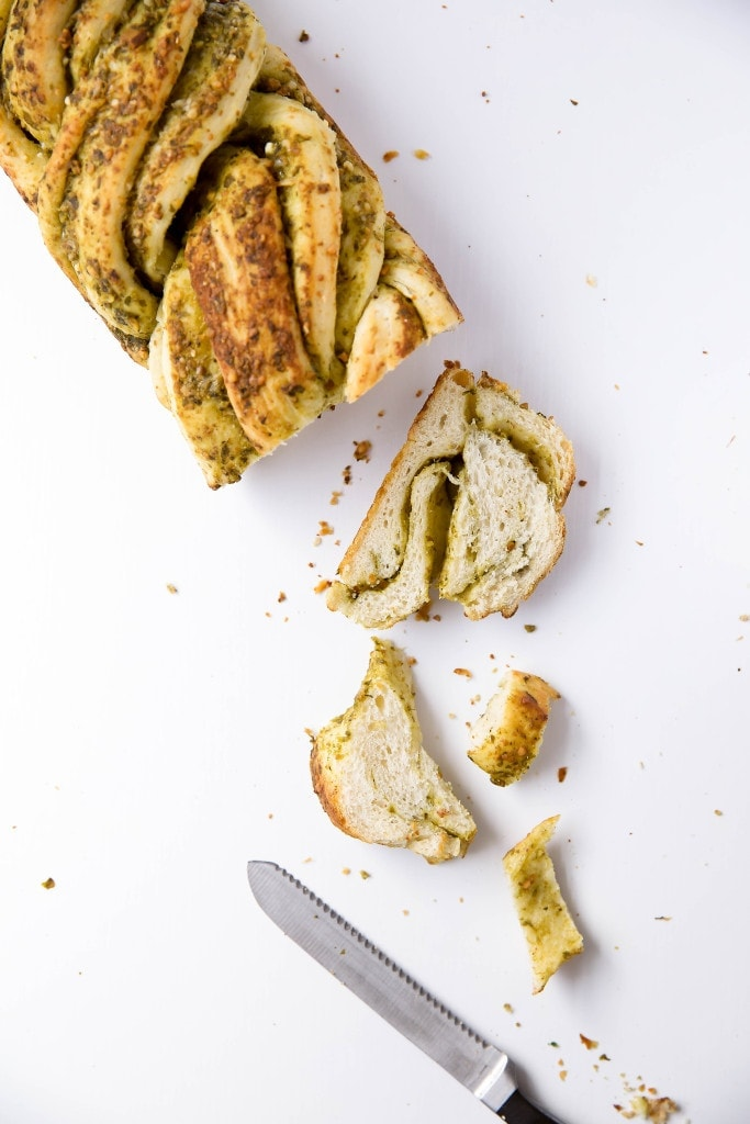 sliced loaf of Parmesan Pesto Bread