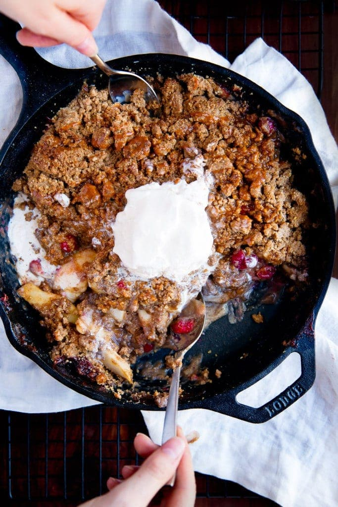 Try this fresh take on a classic: Cranberry Bourbon Apple Crisp drizzled with a Salted Caramel Sauce!