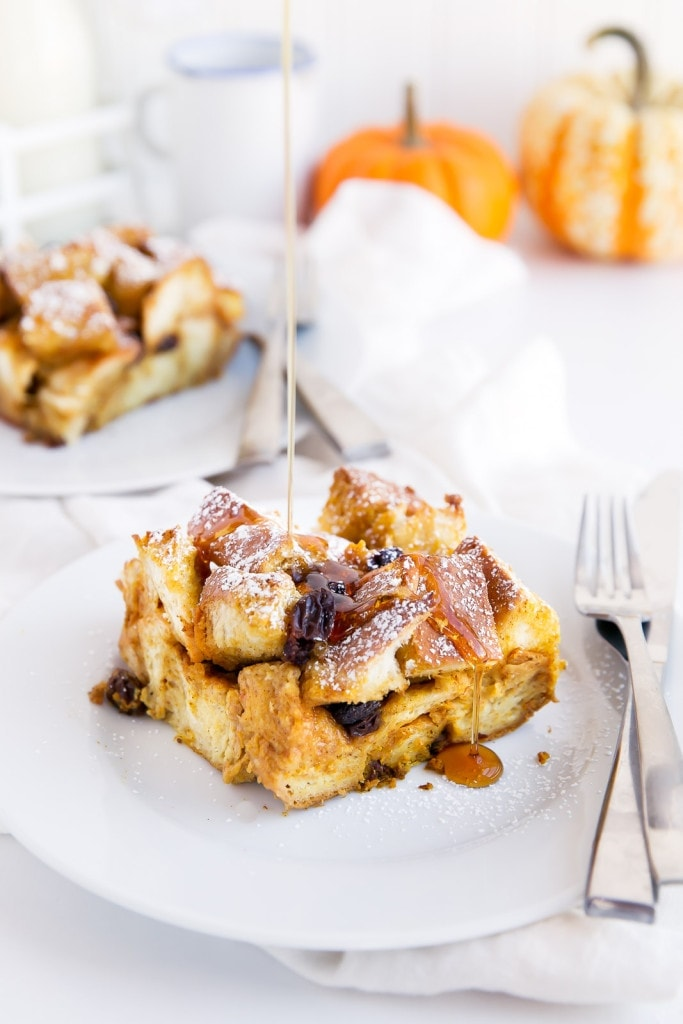 A custard-like overnight french toast bake with challah, raisins, and pumpkin. All the work is done the day before, so in the morning you can enjoy a quick and easy holiday breakfast!