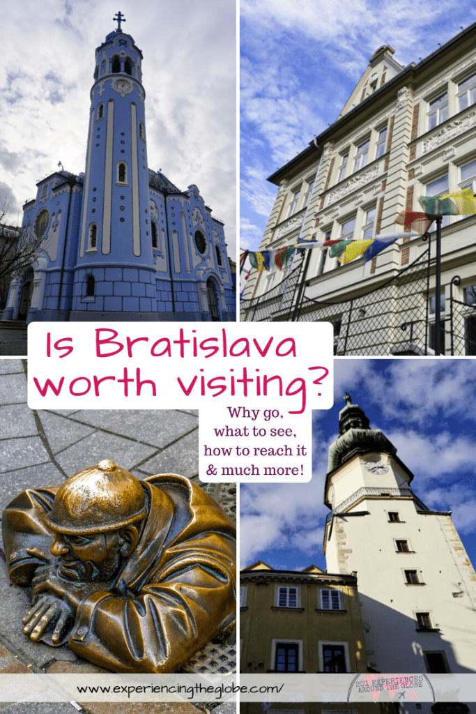 "Travelers in Vienna, Prague or Budapest often ask ""is Bratislava worth visiting?"", and I only reply with one word: absolutely! Gorgeous architecture and no crowds, it doesn't get better! – Experiencing the Globe #Bratislava #Slovakia #TravelPhotography #IndependentTravel #SoloFemaleTravel #BucketList #Architecture #ArtNoveau #Brutalism #ManAtWork #SchoneNaci #Petržalka #UFObridge #BlueChurch"