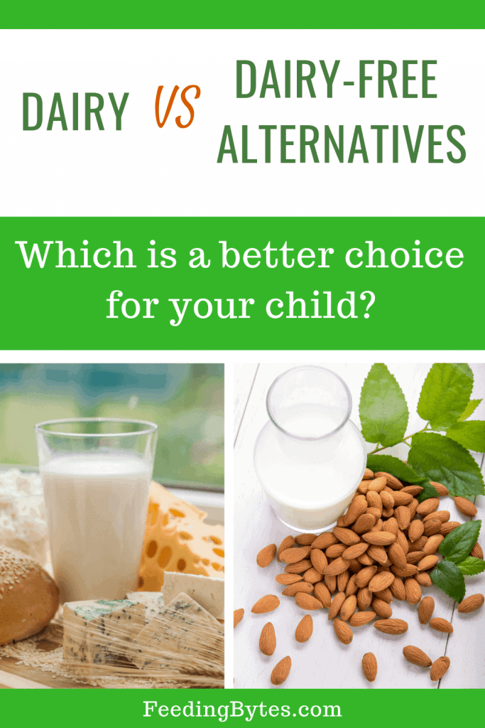 Dairy vs Dairy free alternatives - photo of cow's milk, cheese and almond milk