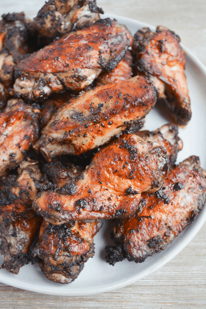 plate of jerk chicken wings cooked in the air fryer