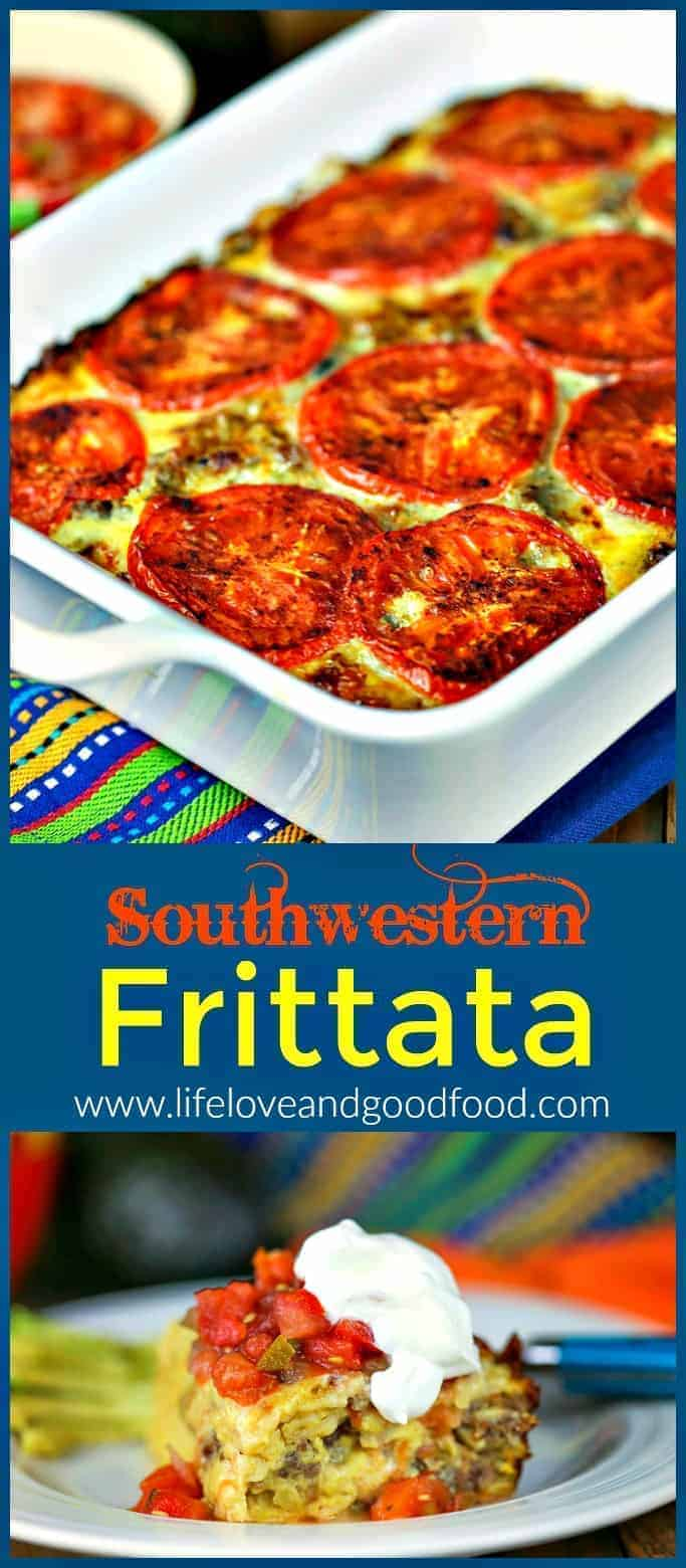 Southwestern Frittata has a soft tamale-like texture and is loaded with pepper jack cheese and garnished with thinly sliced fresh tomatoes. #breakfastfritatta #eggcasserole