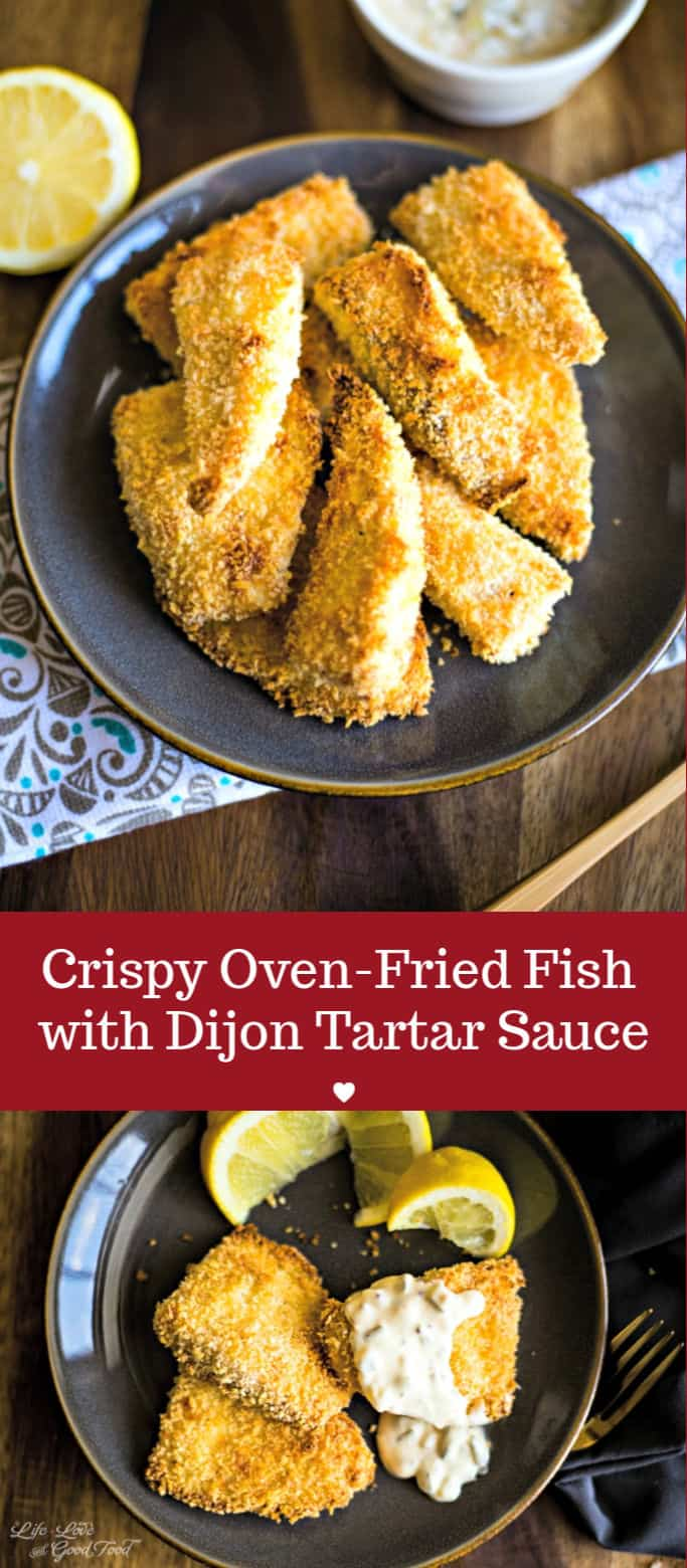 Crispy Oven-Fried Fish with Dijon Tartar Sauce, This healthy oven baked fish recipe calls for a one-two-three dredging process which results in a nice crunchy coating without deep frying and without the added calories! #ovenfriedfish #ovenbakedfish