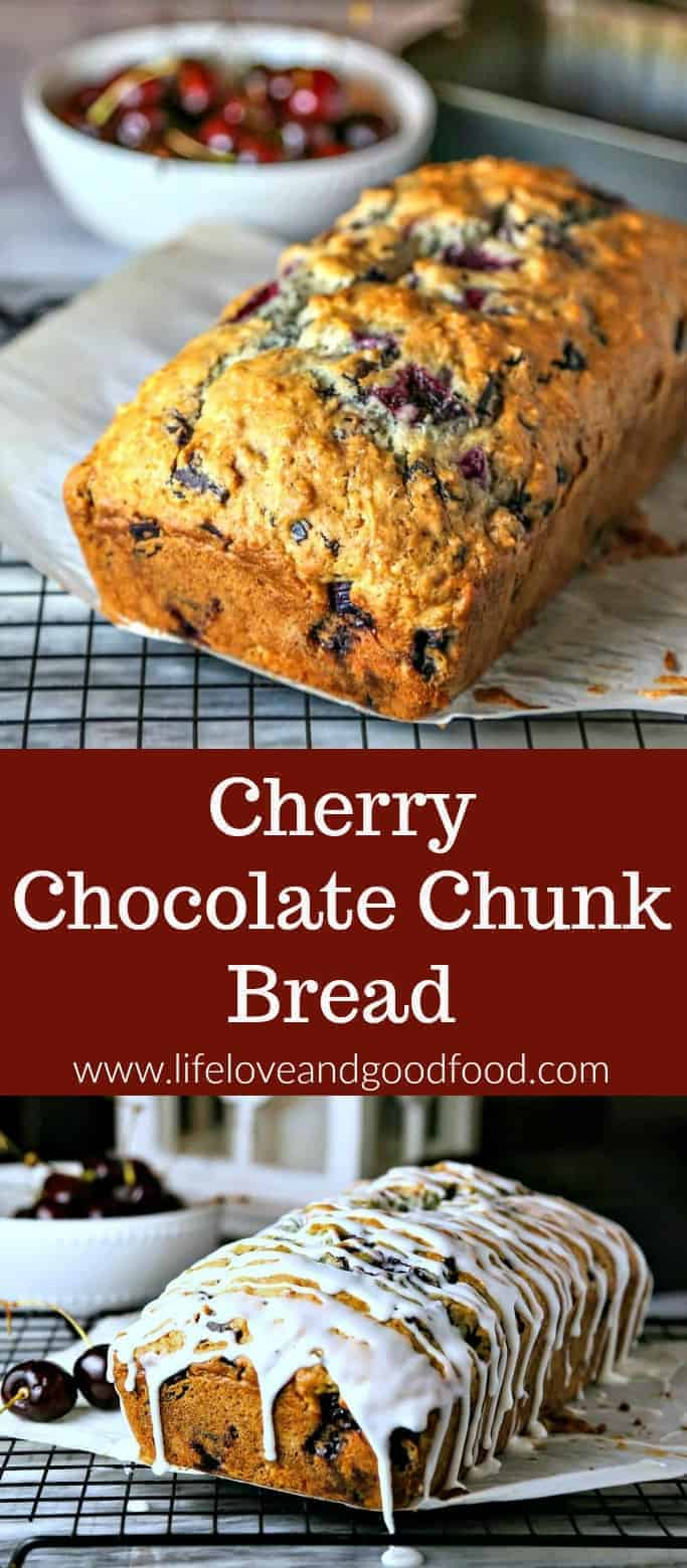 Cherry Chocolate Chunk Bread, a sweet breakfast bread with a powdered sugar glaze #cherry #quickbread #brunch #recipe #chocolate