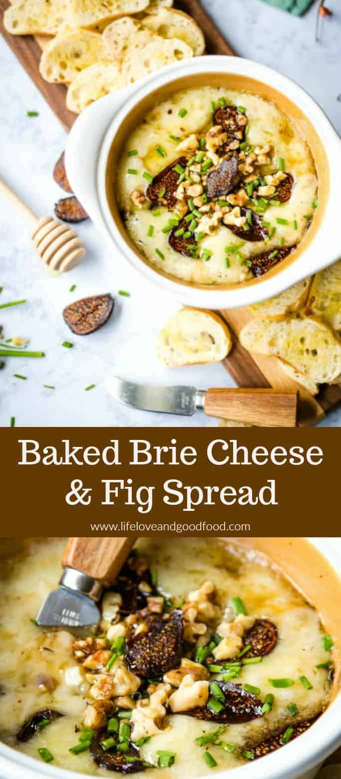 Baked Brie Cheese and Fig Spread - Perfect for your New Year's Eve party, this creamy Brie appetizer with figs, toasted walnuts, and a drizzle of honey is both sweet and savory. #bakedbrie #appetizer