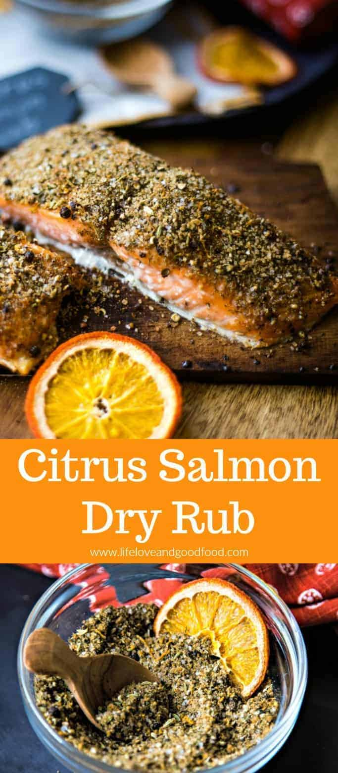 Make this delicious Citrus Salmon Dry Rub with spices easily found in your pantry, and then grill the seasoned salmon on a cedar plank in just 15 minutes! Impressive flavor that's perfect for dinner guests! #dryrub #salmon