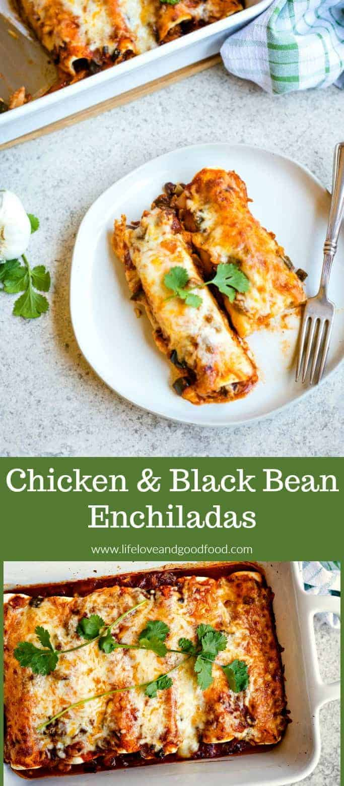 Chicken Black Bean Enchiladas with a chunky homemade enchilada sauce made with onions, poblano pepper, and smoky chipotle chilies! #chickenenchiladas #Mexicancasserole #enchiladas