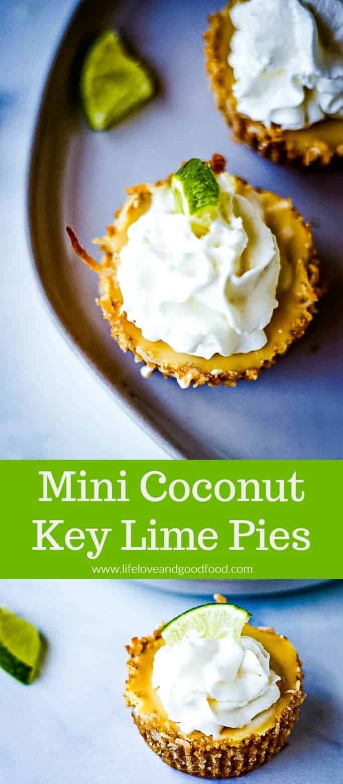 Mini Coconut Key Lime Pies, a delicious summer time dessert with a coconut graham cracker crust #minidessert #keylimepie